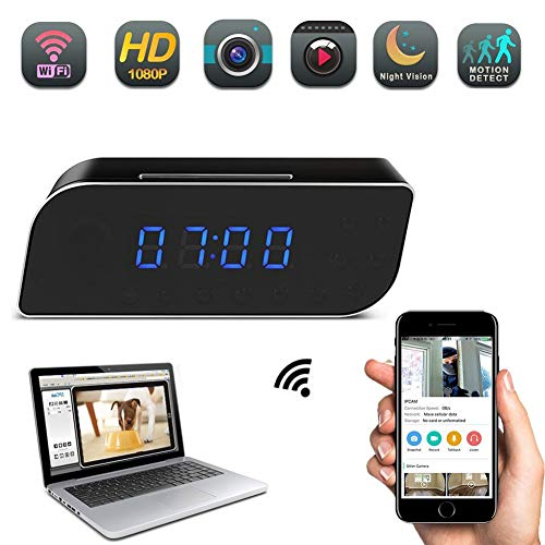 (YCTONG WiFi Camera Clock Hidden Camera HD 1080P Mini Wireless Nanny Cam Motion Detection Alarm Night Vision Remote View Surveillance Camcorder for Home Security Office)