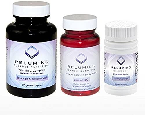 NEW RELUMINS SET! - Relumins Advance Nutrition Gluta 1000, Vitamin C MAX & Booster Capsules - Ultimate Whitening Set - NEW AND IMPROVED now with Rose Hips