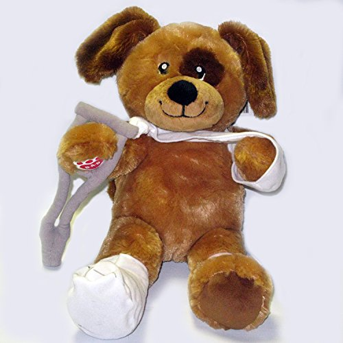 Build A Bear Get Well Puppy Dog - Chocolate Chunk Pup Stuffed Animal - with Feel Fetter Cast, Crutch, Sling and Bandage - 15 inch