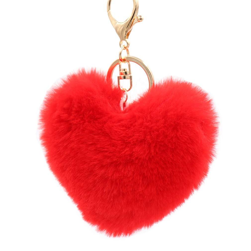 10cm Shuda 1 Pcs Porte-cl/és Keychain Creative en Peluche en Forme de Coeur-Style Pendentif Porte Cl/é Pompon Porte Clef D/écoratif pour Hommes Femme Enfants 10 Blanc