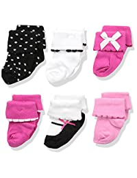 Luvable Friends womens Baby 6 Pair Dressy Cuff Socks