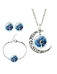Jiayiqi Women Fashion Tree of Life Crescent Moon Pendant Chain Necklace Earrings Bracelet Bangle Set