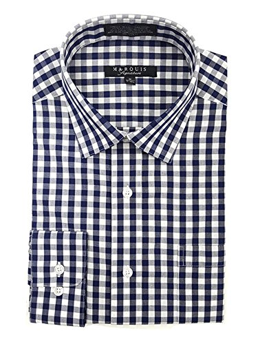 Marquis Men's Navy Gingham Checkered Long Sleeve Modern Fit Dress Shirt (Dress Gingham Navy)