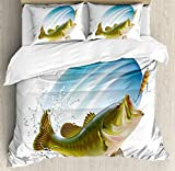 Ambesonne Fishing Decor Duvet Cover Set by, Largemouth Sea Bass Catching a Bite in Water Spray Motion Splash Wild Image, 3 Piece Bedding Set with Pillow Shams, Queen/Full, Green Blue