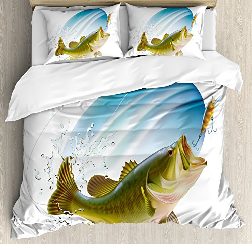 Ambesonne Fishing Duvet Cover Set Queen Size, Largemouth Sea Bass Catching a Bite in Water Spray Motion Splashing Wild Image, Decorative 3 Piece Bedding Set with 2 Pillow Shams, Green Blue