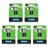 5-Pack D1 Label Tape D1 45013 Black on White 1/2'' W x 23' L Compatible with DYMO LabelManager 160 LabelManager 280 LabelManager 360D LabelWriter 450 Duo