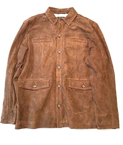 Suede Shirt Jacket (Tasso Elba Mens Genuine Suede Shirt Jacket Brown (Large, Brown))