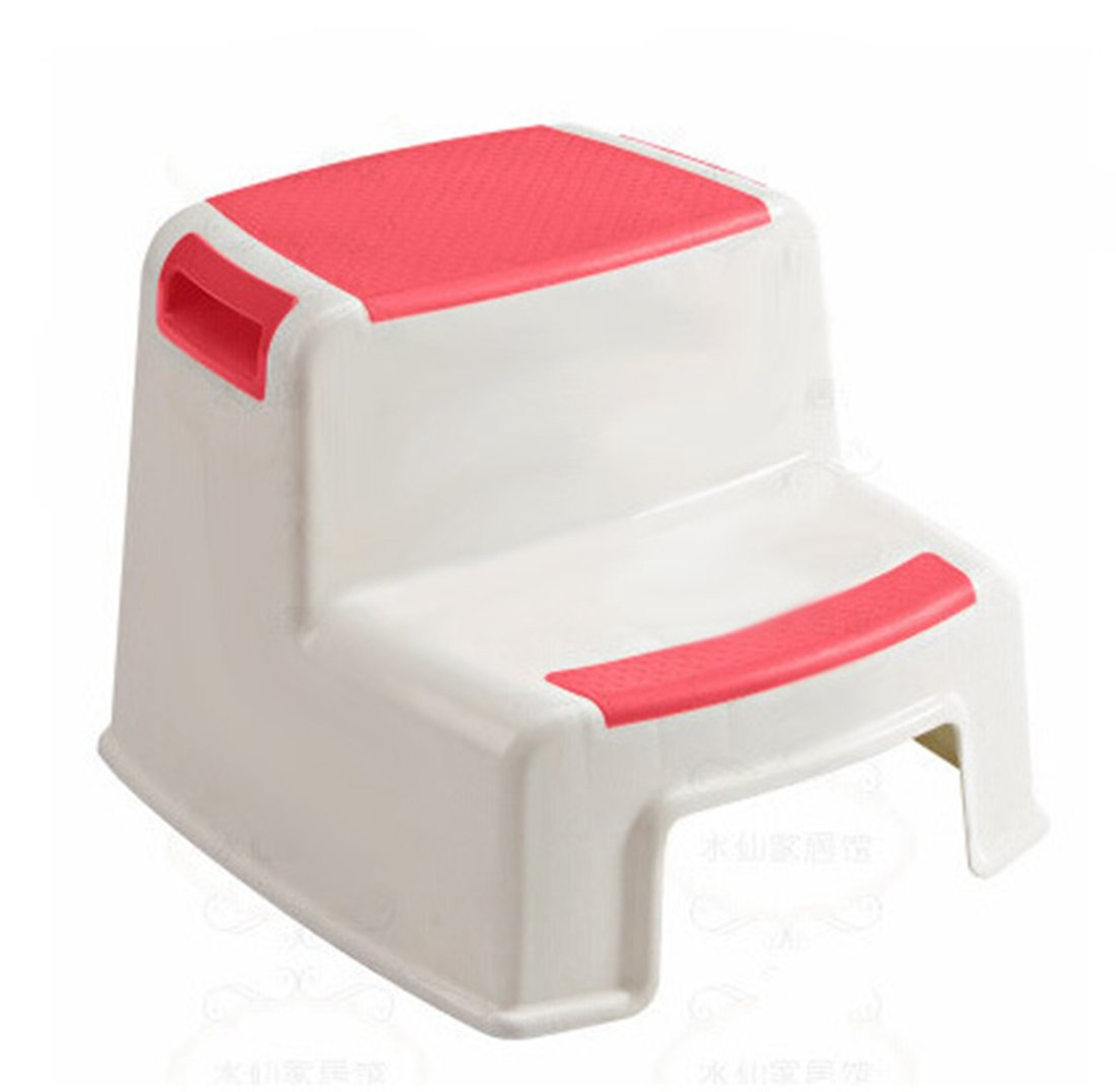 Techcell Portable Kids Non-Slip Step Stool Dual Height Two Step Stool Toddler's Stool for Potty Training Bathroom Kitchen (Red) by Techcell