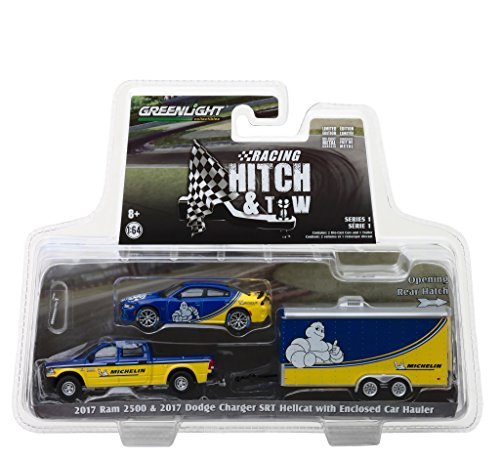 - 2017 Ram 2500 and 2017 Dodge Charger SRT Hellcat Michelin Tires with Enclosed Car Hauler Racing Hitch & Tow Series 1 1/64 Diecast Models by Greenlight 31050 B