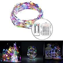 LED String Lights 3AA Battery Powered 16.4ft with 50 LEDs (RGB Multi-color) Dimmable with IR Remote Control Waterproof Outdoor Wedding Party Decorative Light