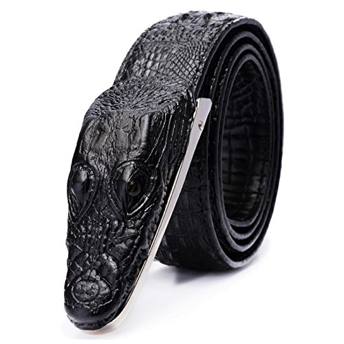 T-PERFECT LIFE Men's Trendy Personality Leather 3D Crocodile Shape Belt with Plaque Buckle (47 inch, black) (Crocodile Belt Strap)
