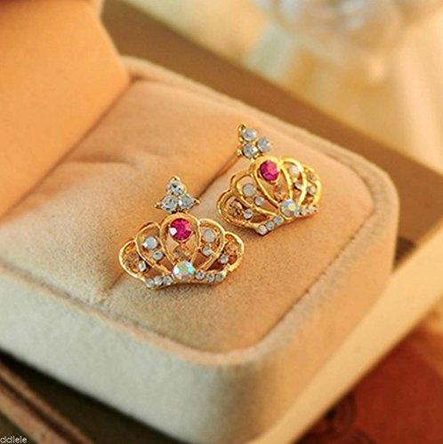 new-fashion-1pair-crown-women-lady-elegant-crystal-rhinestone-ear-stud-earrings-nn