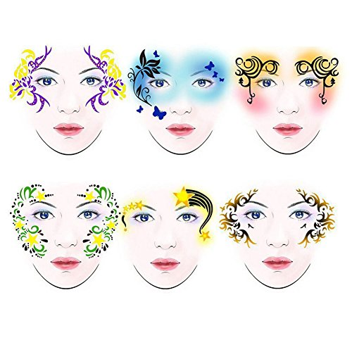 SoarUp Face Paint Stencils, 7styles/set Reusable Body Painting Template Flower Butterfly Facial Design Perfect for Parties, Christmas, Halloween, Carnivals, School & Church Events]()