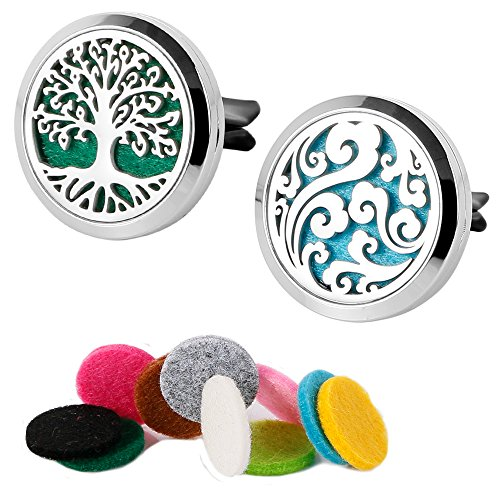 2 Packs Essential Oil Car Diffuser Vent Clip Locket 316L Stainless Steel Diffuser Locket Tree & Cloud with 20 Refill Pads