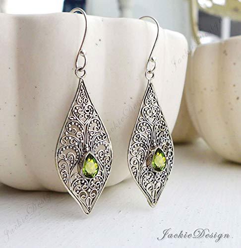 Green Peridot Sterling Silver Tear Drop Filigree Bali Earrings JD73B