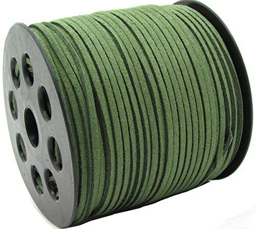 Plana de piel encaje de microfibra hilo cordón de ante sintético cadena bisutería hilo Cables, Verde ejército, 1