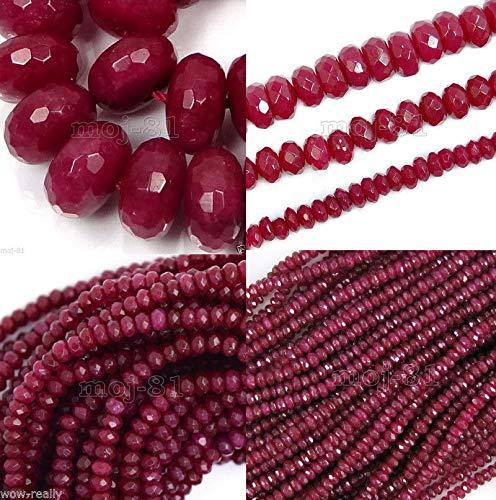 (FidgetFidget Genuine Natural Faceted Brazil Red Ruby Gemstone Rondelle Loose Beads 15