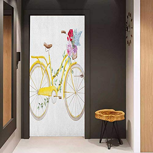 Toilet Door Sticker Vintage Watercolor Style Effect Bicycle with Leaves and Flowers in The Basket Pattern Glass Film for Home Office W31 x H79 White and Yellow