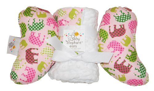 Baby Elephant Ears Head Support Pillow & Matching Blanket Gift Set (Pink Elephant) (Elephant Ear Pillow Pink)