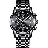 CRRJU Men's Roman Numeral Stainless Steel Wrist Watch and Chronograph Quartz Analog Watches