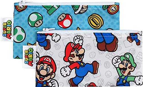Bumkins Reusable Snack Bag Small 2 Pack, Nintendo, Super Mario Set (Mario/Luigi)
