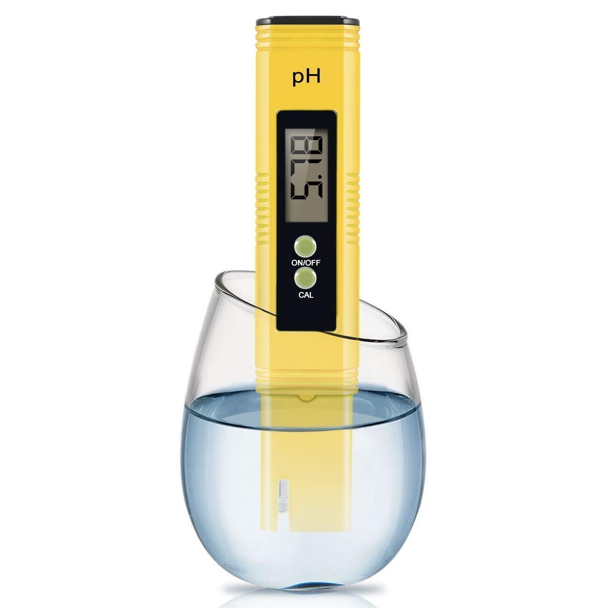 Digital PH Meter, PH Meter 0.01 PH High Accuracy Water Quality Tester with 0-14 PH Measurement Range for Household Drinking, Pool and Aquarium Water PH Tester Design with ATC (2019-Yellow) by Cakie