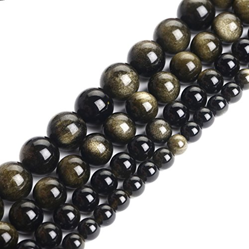 Obsidian Gold (iSTONE Natural Gemstone 8mm Gold Sheen Obsidian Round Beads 16'' For Jewelry Making)