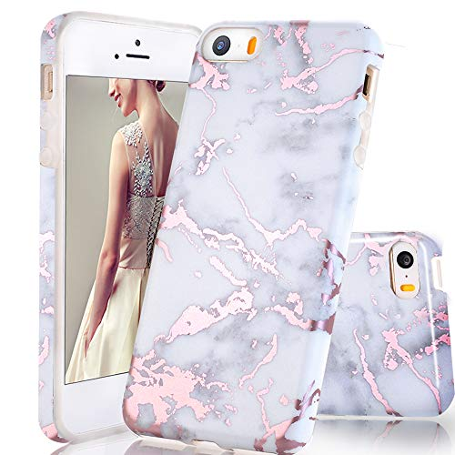 luolnh Compatible with iPhone 5 5S SE Case,Shiny Rose Gold Metallic White Marble Design, Shockproof Clear Bumper TPU Soft Case Rubber Silicone Skin Cover Case for iPhone 5 5s SE (Iphone 5s Gold Wrap)