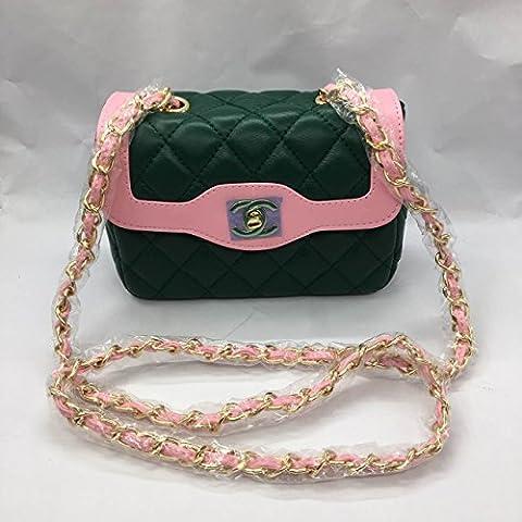 Fashion Chanel classic cf Ling check chain bag shoulder bag (Green) - Chanel Green