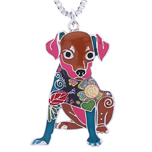 Luckeyui Miniature Pinscher Jewelry Gifts for Women Cute Enamel Dog Pendant Necklace