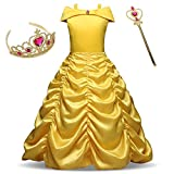 AiMiNa Girls Princess Belle Costume Fancy Dresses up Halloween Party With Accessories Age Of 3-8 Years(Yellow)