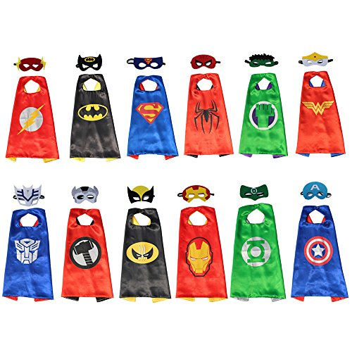 XKX Comics& Superhero Dress Up Costumes Cape and Mask ,12 Set by XKXdreamempire