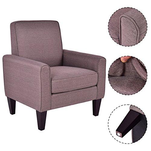 Giantex modern accent arm chair single sofa linen wooden for Grey single chair