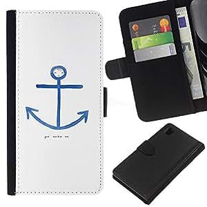 iBinBang / Flip Funda de Cuero Case Cover - Cita Marinero Blanco Azul Marino - Sony Xperia Z1 L39H