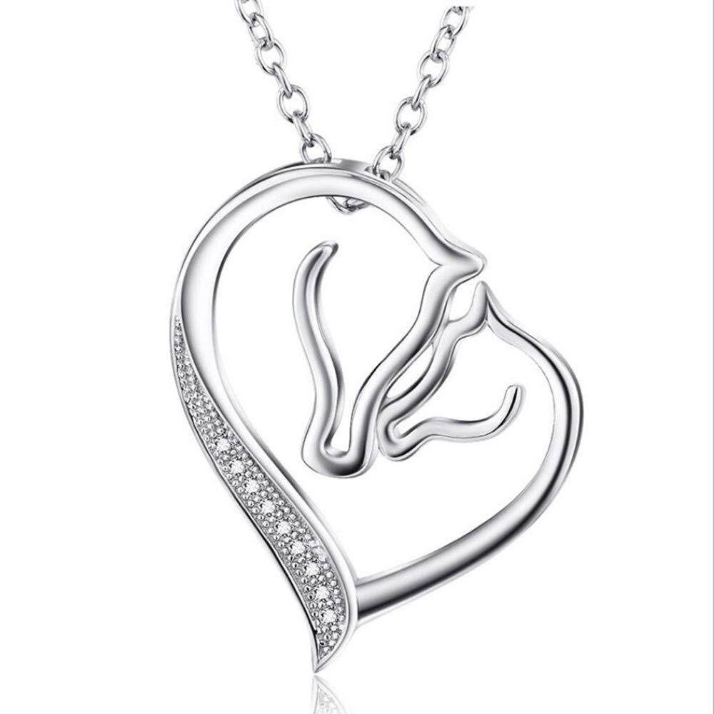 Pferdegemusterte Herzförmige Damenkette, 925 Sterling Silber Necklace Gift Box Perfect for A Perfect Box Valentine Es Day Gift for Girlfriends and Couples a42471