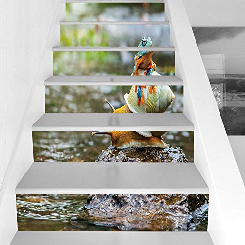 Stair Stickers Wall Stickers,6 PCS Self-adhesive,Funny,Cute Colorful Frog Above the Snail Riverscape Water Rock Mollusks Amphibian Animals,Multicolor,Stair Riser Decal for Living Room, Hall, Kids Room