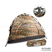 Camping Tent, FOME SPORTS|OUTDOORS Lightweight 2 Person Automatic Outdoor Waterproof Folding Family Pop up Tent for Travel Camping Camouflage One Year Warranty