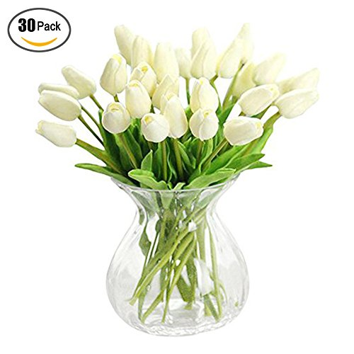XHSP 30 pcs Real-touch Artificial Tulip Flowers Home Wedding Party Decor by XIAOHESHOP