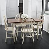 Great Deal Furniture 296038 Gates 5-Piece Spindle Wood Dining Set with Leaf Extension, Dark Oak, Antique White For Sale