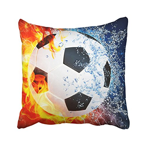 (Tarolo Decorative Ice and fire can Football Sports soccer center forward halfback Zippered Pillow Cases Covers pillowcase Size 20x20 inches(50x50cm) One Sided)