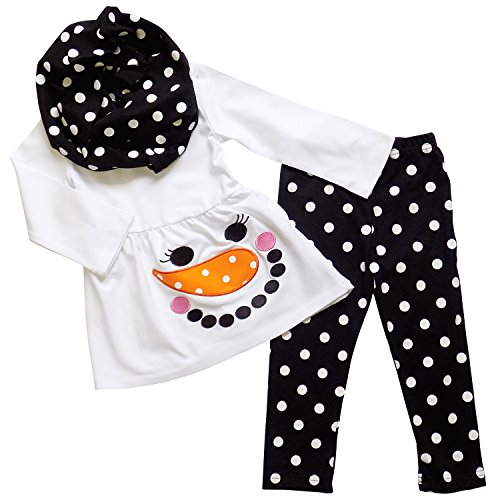 So Sydney Toddler or Girls 3 Pc Christmas Winter Snowman Holiday Outfit w Scarf (L (5), Polka Dot White & (New Girls Christmas Holiday Snowman)