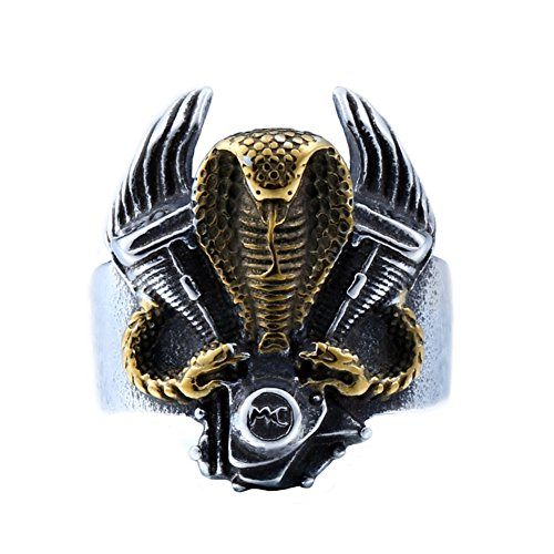 SINLEO Men's Stainless Steel Vintage Gothic Punk Cobra Snake Ring Motorcycle Engine Band Gold Size 10 ()