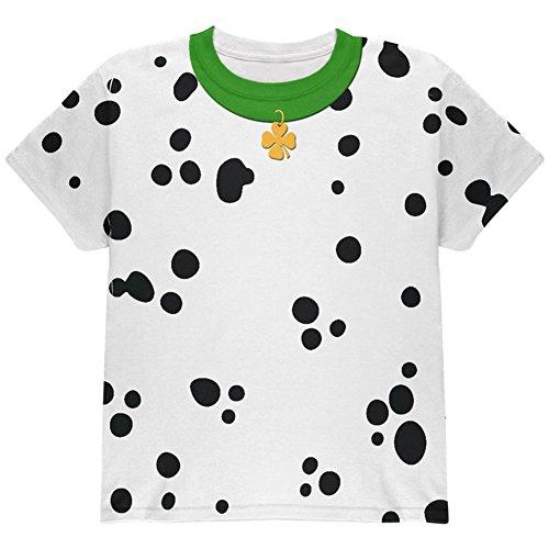 Dalmation Puppy Dog Costumes (St Patrick's Day Dog Dalmatian Costume Green Collar Shamrock All Over Youth T Shirt Multi YXL)