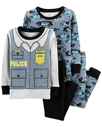 Carter's Baby Boys' 4 Piece Cotton Sleepwear (18 Months, Police Car) -