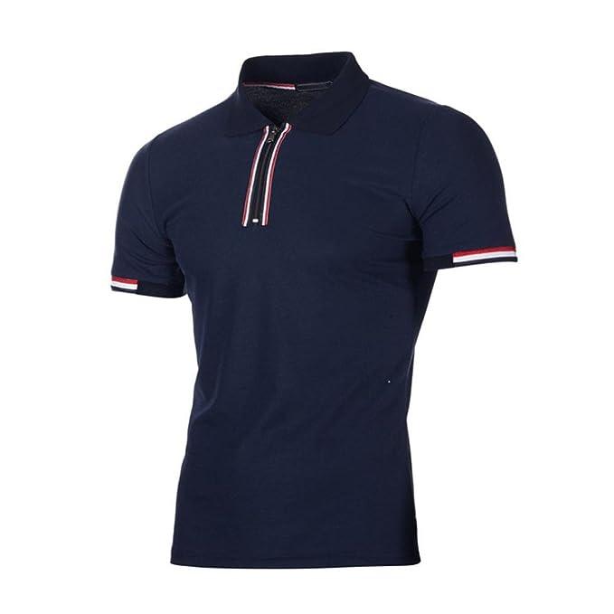 ❤️OHQ Camisa De Blusa De Hombre Camiseta De Polo De Solapa De Verano para Hombre