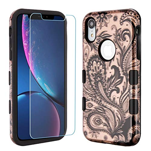 Insten Tuff with Screen Protector Phoenix Flower Dual Layer [Shock Absorbing] Protection Hybrid PC/TPU Rubber Case Cover Compatible Apple iPhone XR, Rose Gold/Black