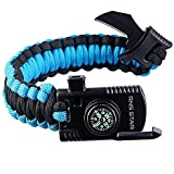 RNS STAR Paracord Survival Bracelet 500 LB - Hiking Gear Travelling Camping Gear Kit - Parachute Rope Bracelet,Compass Stone,Stainless Fire Scrapper,Flint Fire Starter,Survival Knife,Whistle