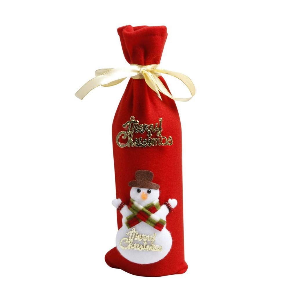 HANANei 1PC/4PC Red Wine Bottle Cover Bags Decoration Home Party Santa Claus Christmas (A:1PC)
