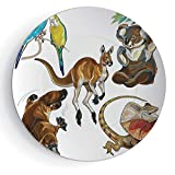 iPrint 8'' Porcelain Plate Tropical Animals for Gift Family Koala Family on Dotted Spotted Background Marsupial Mascots of Mother Earth