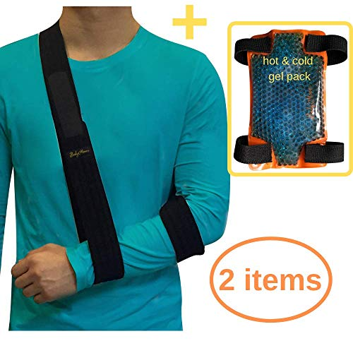 (BodyMoves Arm Sling Plus Hot and Cold Hand Ice Pack for Shoulder Surgery Rotator Cuff Elbow immobilizer for Men,Women,Kids Left or Right Wrist Injuries Fracture Treatment)